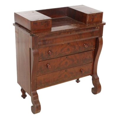 American Empire Flame Mahogany Dresser, Early to Mid 19th Century