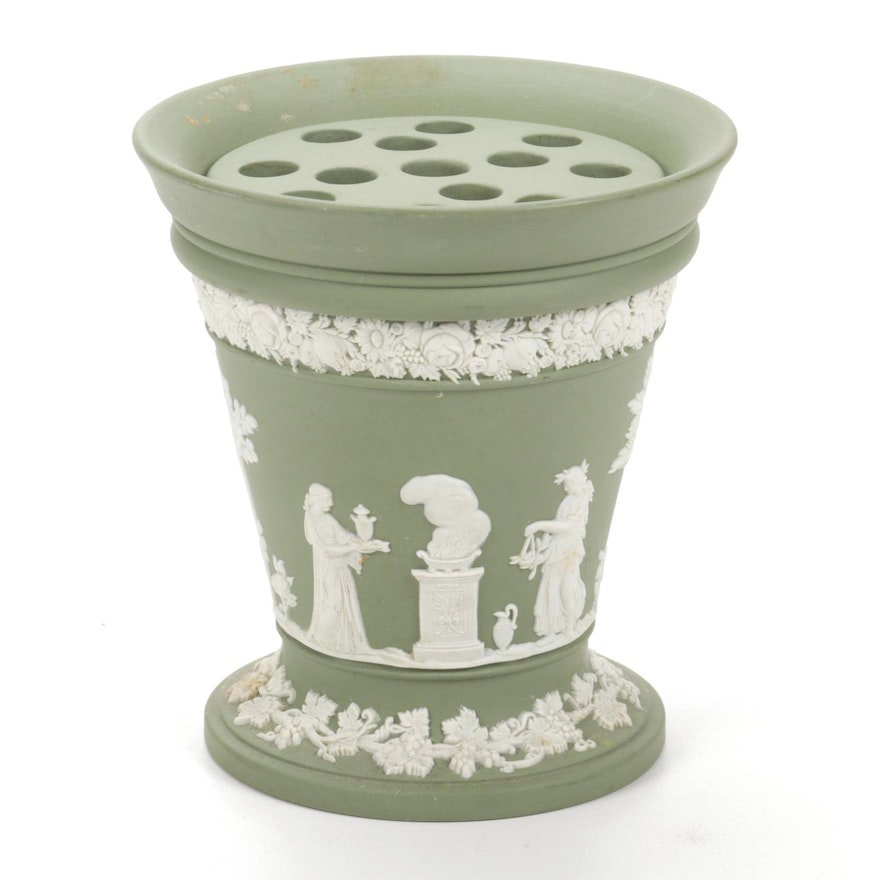 Wedgwood Cream on Celadon Jasperware Posy Pot with Floral Frog