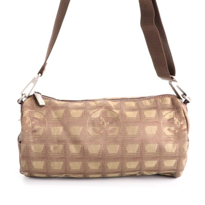 Chanel Jacquard and Leather Travel Line Barrel Bag in Olive