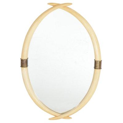 Mid Century Modern Chapman Faux Tusk Mirror, 1976