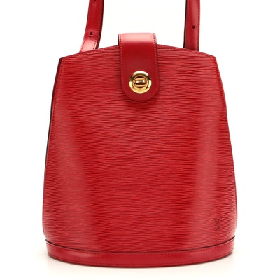 Louis Vuitton Cluny Shoulder Bag in Red Epi and Smooth Leather