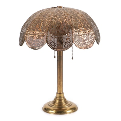 Brass Lamp with Punched Brass and Overlay Owl Theme Shade