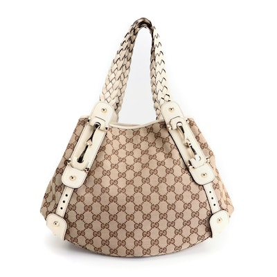 Gucci Pelham Shoulder Bag in GG Canvas with Off-White Leather Trim