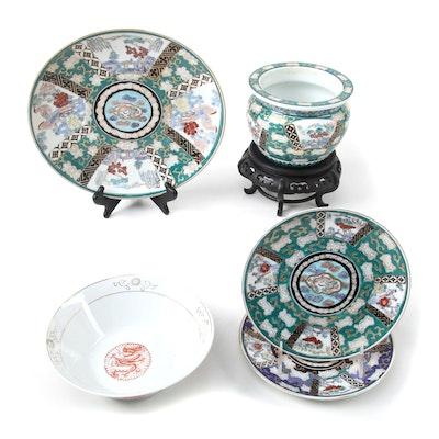 Japanese Gold Imari Porcelain Dinnerware with Other Asian Porcelain