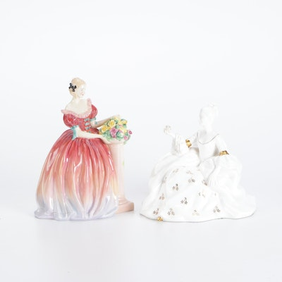 """Royal Doulton """"Roseanna"""" and """"Antoinette"""" Bone China Figurines"""