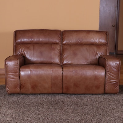 American Signature Leather Power Reclining Two-Seat Sofa