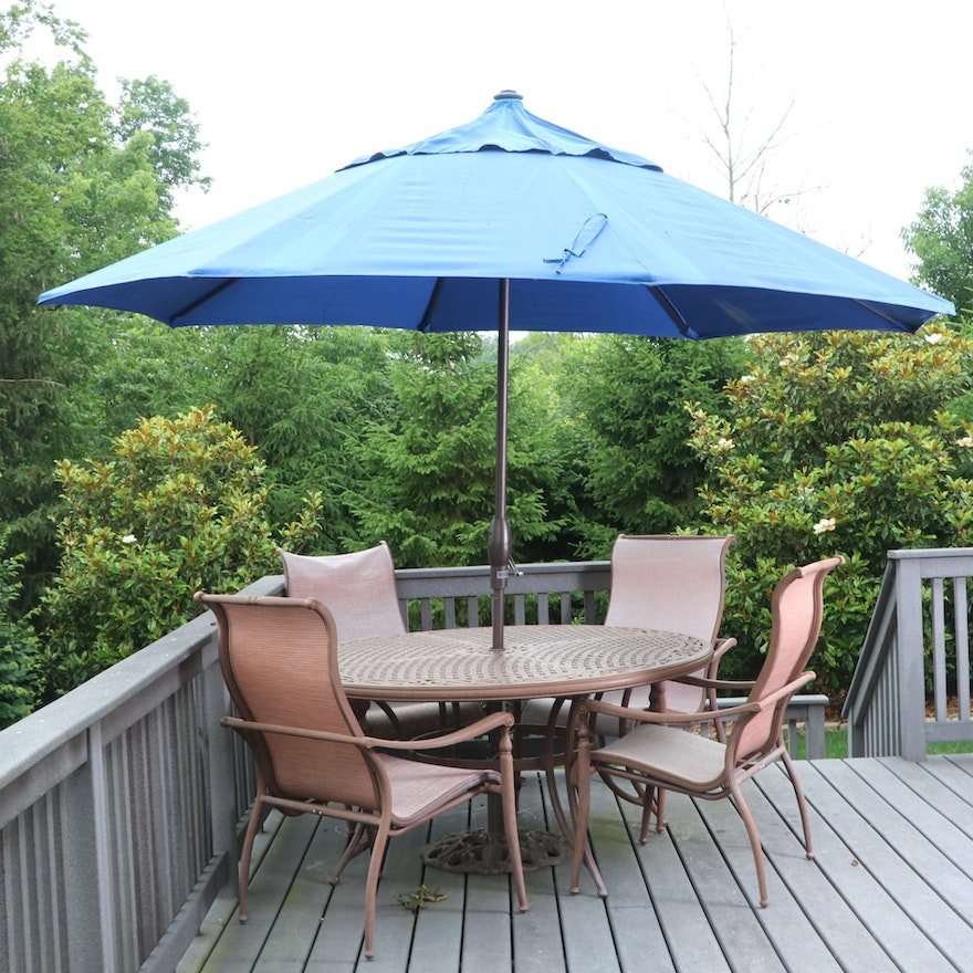 Agio Cast Aluminum Patio Dining Set with Sling Chairs and Frontgate Umbrella