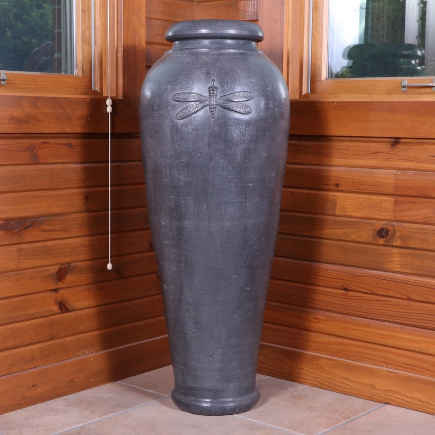 Charcoal Glaze with Dragonfly Motif Terracotta Floor Vase