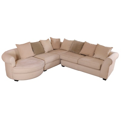 Arhaus Cotton Twill Three-Piece Sectional Sofa with Coordinating Pillows