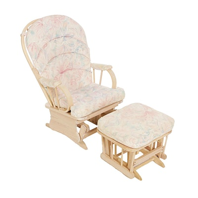 Wooden Glider With Cushions and Matching Ottoman, Late 20th Century