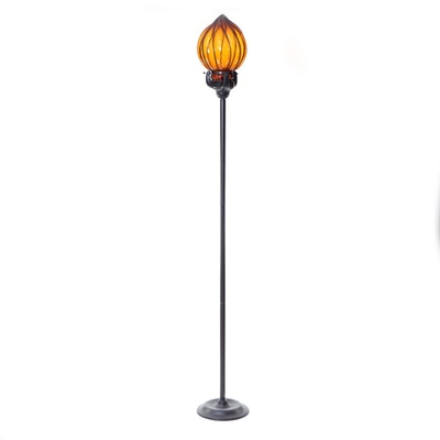 Arhaus Amber Flame Style Glass and Metal Torchière