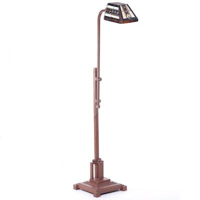 Adjustable Patinated Metal Slag Glass Pharmacy Floor Lamp