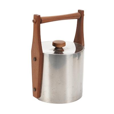 Frasier's Swedish Stainless Steel and Teak Ice Bucket, Mid-20th Century