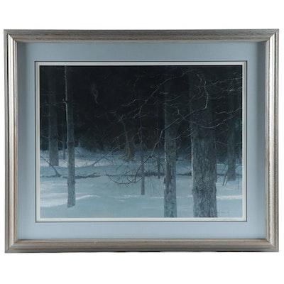"""Robert Bateman Offset Lithograph """"Midnight - Black Wolf"""", 1988"""