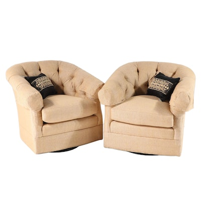 Vanguard Pair of Swivel Lounge Chairs with Pillows