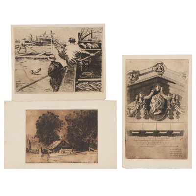Edmond Fitzgerald Etchings of Architectural Detail, Fishing Scene, and Farmhouse