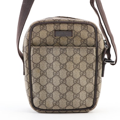 Gucci Crossbody in GG Supreme Canvas with Brown Leather Trim