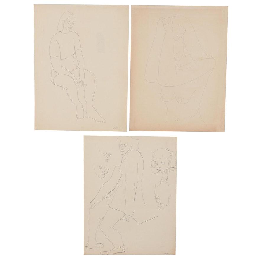 W. Glen Davis Figural Ink Drawings, Late 20th Century