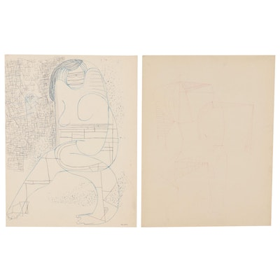 W. Glen Davis Abstract Ink Drawings, Late 20th Century