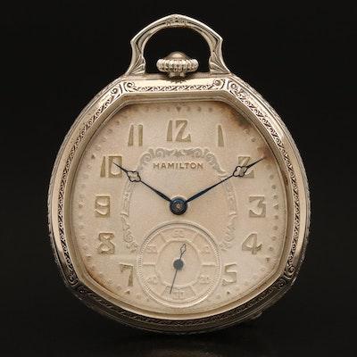 1932 Hamilton Unique Shape 14K Gold Filled Pocket Watch