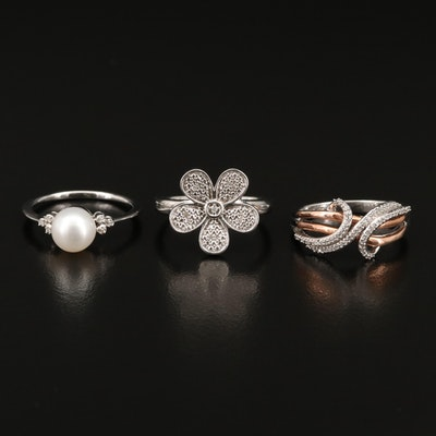 Sterling Silver Diamond and Pearl Rings Including 10K Accent