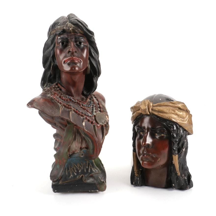 Chalkware Busts of Native American Portraits