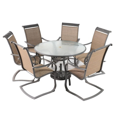 Seven-Piece Aluminum and Glass Patio Dining Set with Umbrella Stand