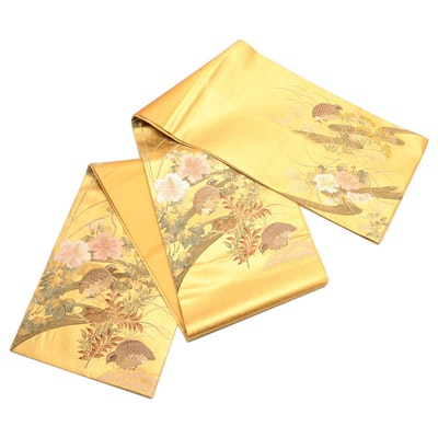 Quail and Flora Metallic Brocade Fukuro Obi with Tato-shi Paper