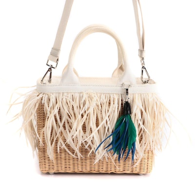 Prada Midollino Two-Way Bag in Woven Wicker and Leather with Feather Fringe