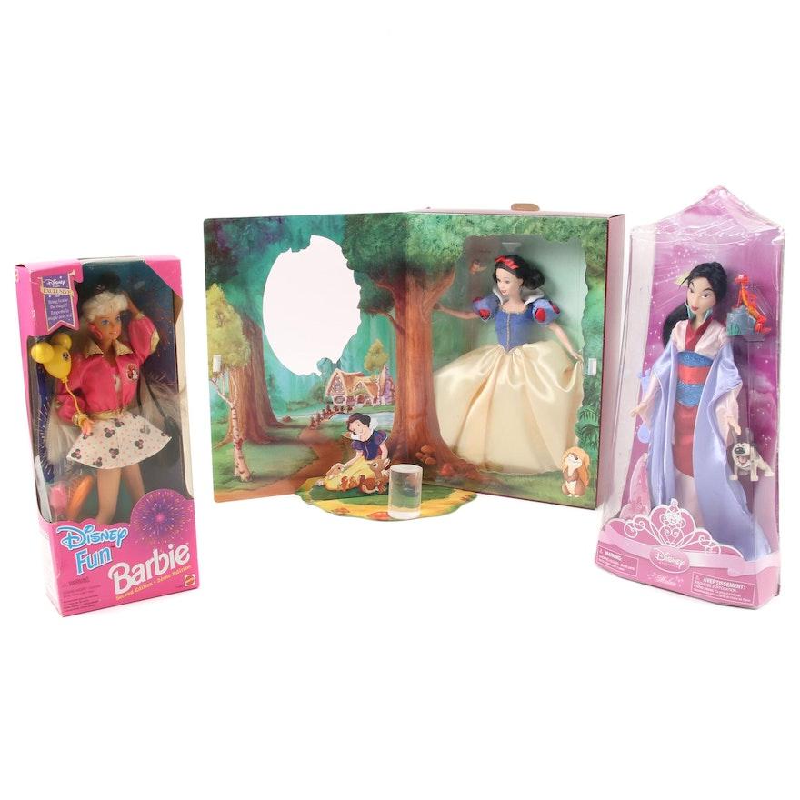 "Walt Disney Dolls ""Mulan,"" ""Fun Barbie,"" and ""Snow White"""