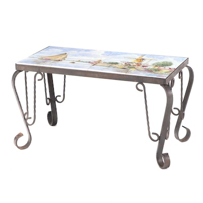 Wrought Iron Side Table with Hand-Painted Delft-Tile Top, Late 20th Century