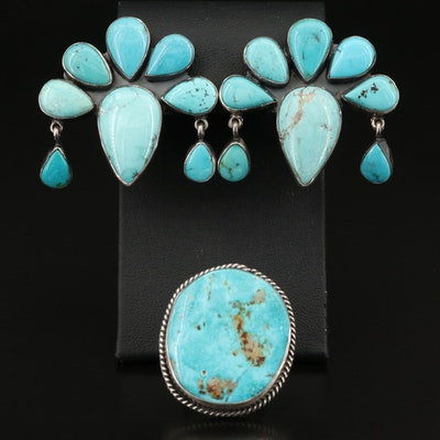 Federico Jimenez Sterling Turquoise Ring and Clip Earrings