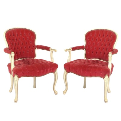 Pair of Hickory Chair Co. Louis XV Style Cream-Painted and Parcel-Gilt Fauteuils