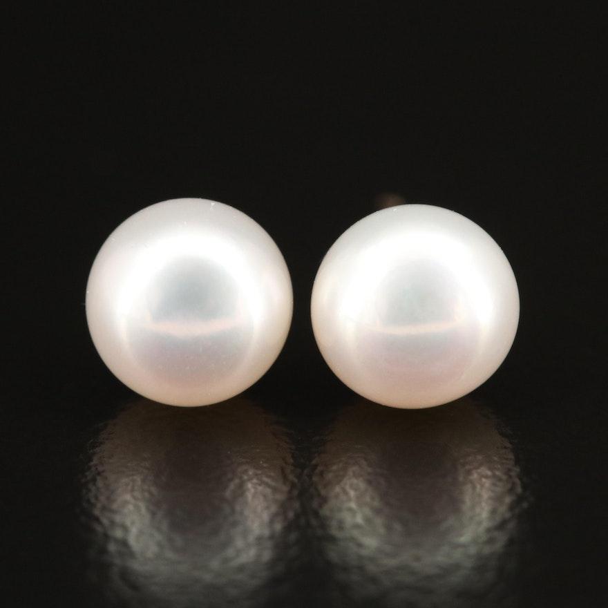 18K Pearl Button Earrings