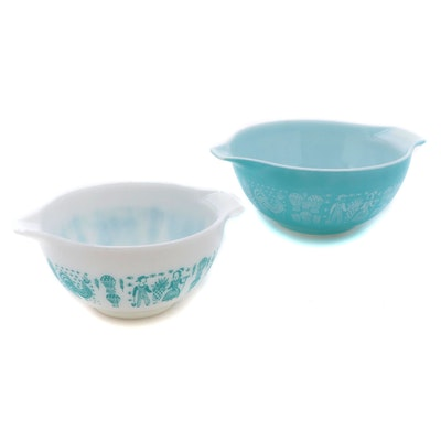 """Pyrex Cinderella """"Butterprint"""" Turquoise and White Mixing Bowls, 1957-1968"""