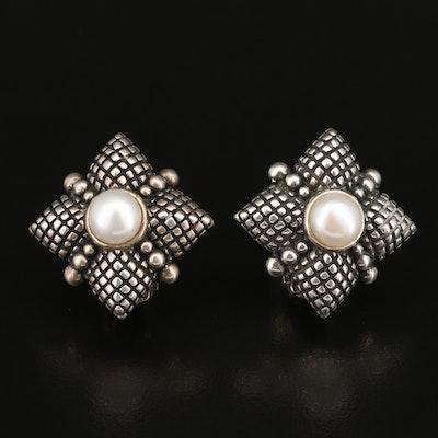 Stephen Dweck Sterling Pearl Clip Earrings