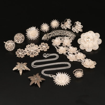 Sterling and 800 Silver Filigree Jewelry