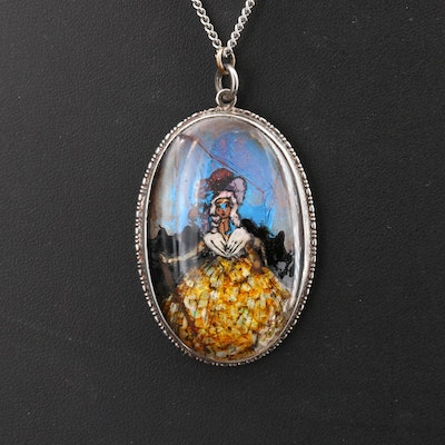 Vintage Sterling Reverse Painted Morpho and Opal Mosaic Pendant Necklace