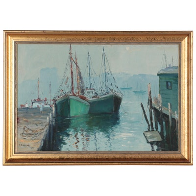 Cesare Ricciardi Harbor Scene Oil Painting, 1964