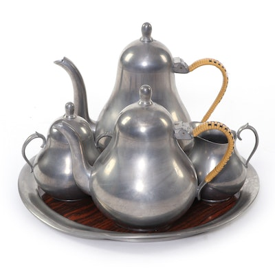 Hans Klein Holland Pewter Tea Set and Other Laminate Serving Tray