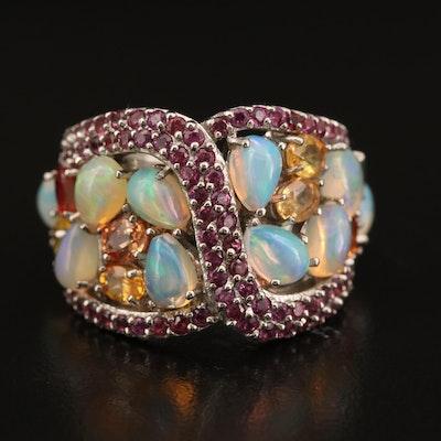Sterling Opal, Sapphire and Rhodolite Garnet Cluster Ring