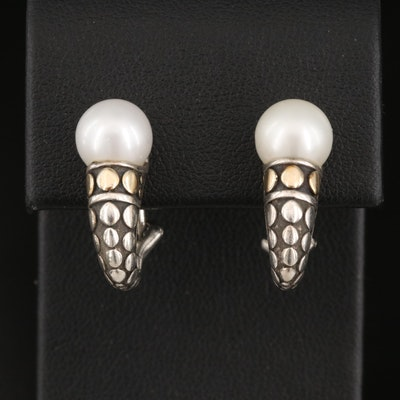 John Hardy Sterling Silver Pearl Earrings with 18K Accents