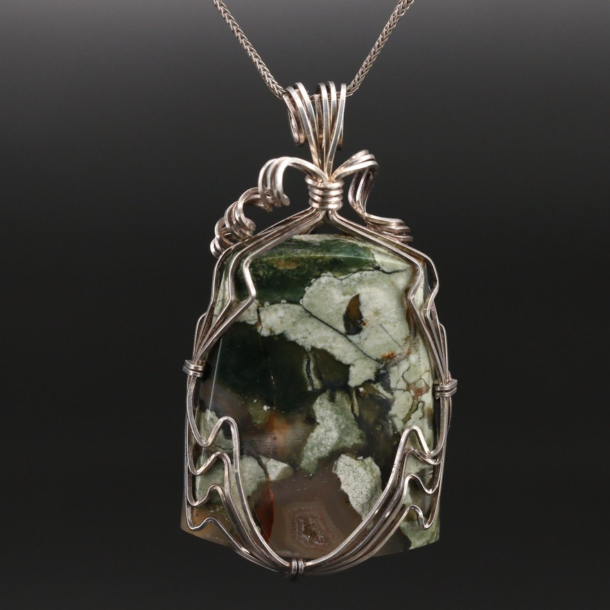 Italian Sterling Agate Wire Wrapped Pendant Necklace