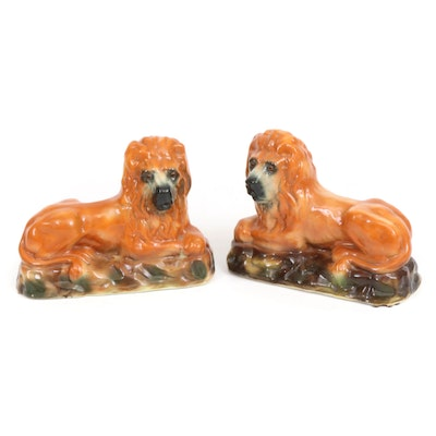 Staffordshire Ceramic Recumbent Lion Figurines with Glass Eyes, Antique