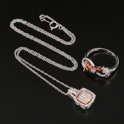 """Sterling Silver Diamond """"MOM"""" Ring and Pendant Necklace"""