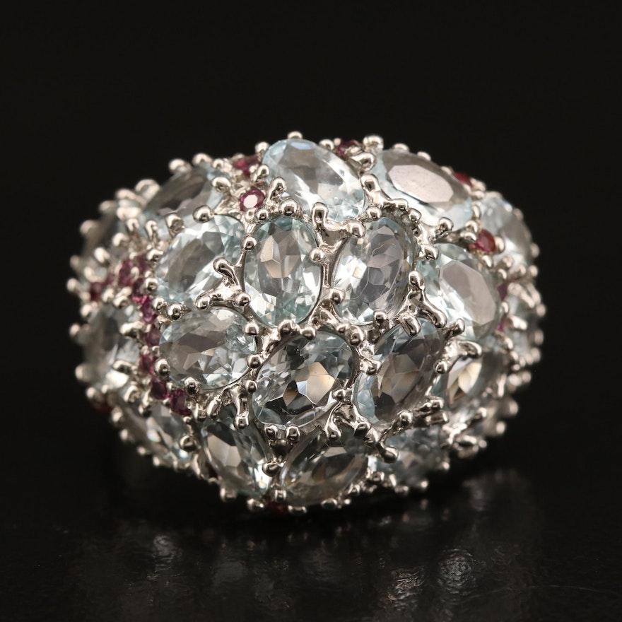 Sterling Aquamarine Domed Cluster Ring