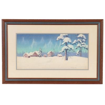 Northern Lights Landscape Gouache Painting
