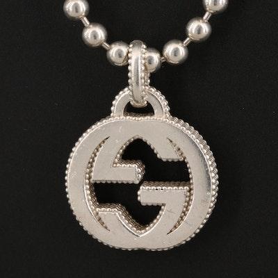 "Gucci Sterling Silver Interlocking ""G"" Logo Necklace"
