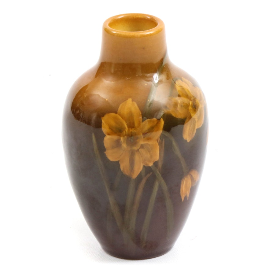 Rookwood Pottery Standard Glaze Vase with Daffodil Motif, 1904
