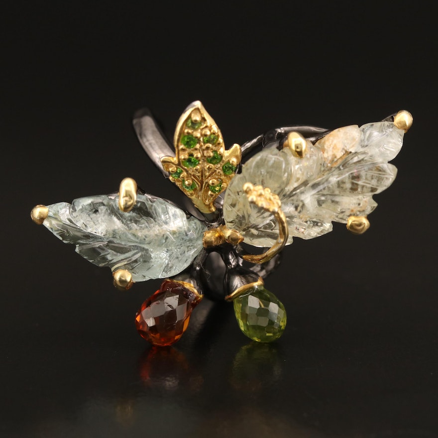 Sterling Leaf Ring Including Peridot, Citrine and Diopside